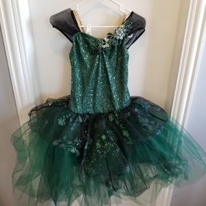 Green Sequins Black Tutu dance costume leotard